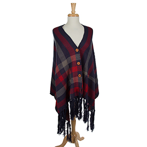 """Navy blue and red, plaid shawl with front wooden buttons. This can be worn unbuttoned as a scarf as well. 100% acrylic. One size fits most. Measures 30"""" x 72"""" in size."""