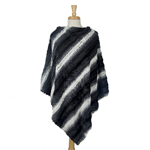 Black, gray and white striped, faux fur poncho. 100% polyester. One size fits most.