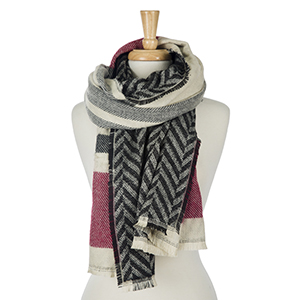 """Heavyweight, black, burgundy and ivory plaid, open scarf with a chevron pattern on the reverse. 100% acrylic. Measures 27"""" x 80"""" in size."""