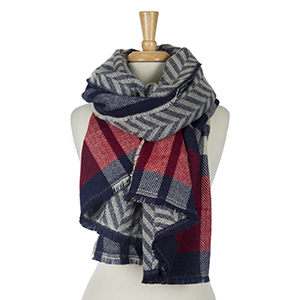 "Heavyweight, navy blue and red plaid, open scarf with a chevron pattern on the reverse. 100% acrylic. Measures 27"" x 80"" in size."