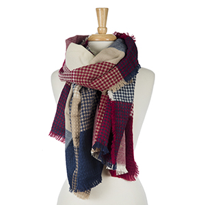 """Burgundy, navy blue and beige patchwork print scarf with frayed edges. 100% acrylic. Measures 33"""" x 80"""" in size."""