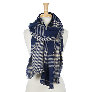 "Two sided, navy blue and ivory plaid open scarf with houndstooth on the inside. 100% acrylic. Measures 20"" x 80"" in size."