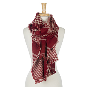 "Two sided, crimson and white plaid open scarf with houndstooth on the inside. 100% acrylic. Measures 20"" x 80"" in size."