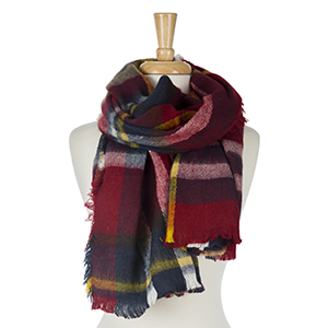 """Burgundy, navy blue and white, plaid open scarf with frayed edges. 100% acrylic. Measures 28"""" x 72"""" in size."""