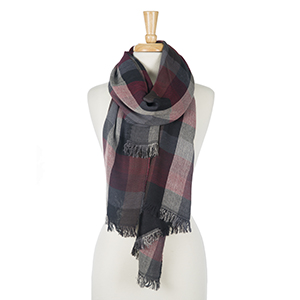"""Black, burgundy and gray plaid, lightweight open scarf with frayed edges. 100% polyester. Measures 24"""" x 80"""" in size."""