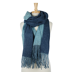 """Two tone, light and dark blue heavyweight scarf with fringe on the edges. 100% acrylic. Measures 25"""" x 72"""" in size."""