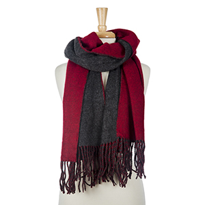 """Two tone, red and gray heavyweight scarf with fringe on the edges. 100% acrylic. Measures 25"""" x 72"""" in size."""