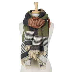 """Olive, beige and charcoal gray printed scarf with striped patterns. 100% acrylic. Measures 28"""" x 80"""" in size."""
