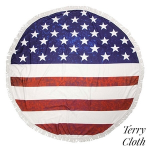 "American flag printed terry cloth roundie beach towel with frayed edges. 70% polyester and 30% cotton. Approximately 57"" in diameter."