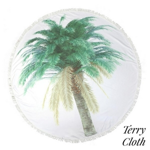 """Printed terry cloth roundie beach towel with frayed edges and palm tree leaves. 70% polyester and 30% cotton. Approximately 55"""" in diameter."""