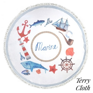 "Marine theme printed terry cloth roundie beach towel with frayed edges. 70% polyester and 30% cotton. Approximately 55"" in diameter."