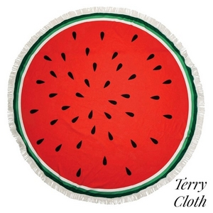 "Watermelon printed terry cloth roundie beach towel with frayed edges. 70% polyester and 30% cotton. Approximately 57"" in diameter."