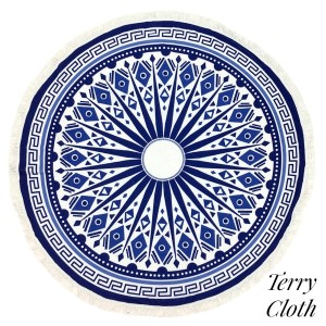 "Navy blue and white Greek Key printed terry cloth roundie beach towel with frayed edges. 100% cotton. Approximately 60"" in diameter."
