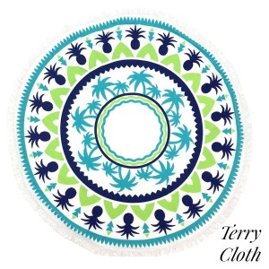 """Pineapple and palm tree printed terry cloth roundie beach towel with frayed edges. 100% cotton. Approximately 60"""" in diameter."""