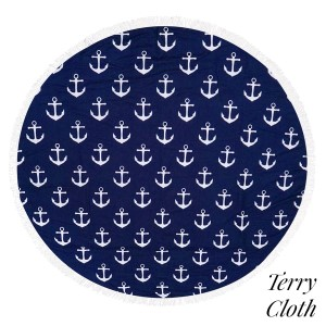 """Anchor printed terry cloth roundie beach towel with frayed edges. 100% cotton. Approximately 60"""" in diameter."""