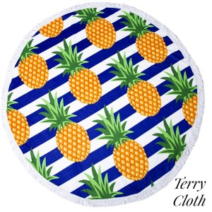 """Pineapple printed terry cloth roundie beach towel with frayed edges. 100% cotton. Approximately 60"""" in diameter."""