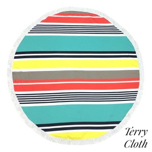 "Multicolor striped terry cloth roundie beach towel with frayed edges. 100% cotton. Approximately 60"" in diameter."