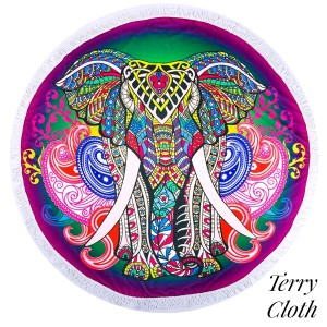 """Elephant printed terry cloth roundie beach towel with frayed edges. 100% cotton. Approximately 60"""" in diameter."""