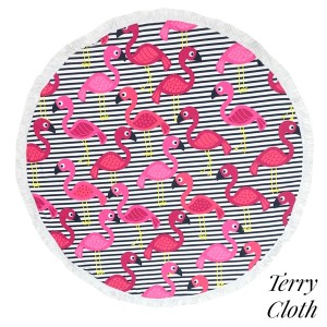"""Flamingo and striped terry cloth roundie beach towel with frayed edges. 100% cotton. Approximately 60"""" in diameter."""