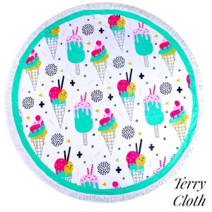 """Ice cream and popsicle printed terry cloth roundie beach towel with frayed edges. 100% cotton. Approximately 60"""" in diameter."""