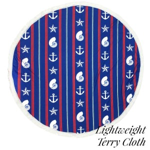 """Lightweight nautical striped printed terry cloth roundie beach towel with frayed edges. 100% cotton. Approximately 60"""" in diameter."""