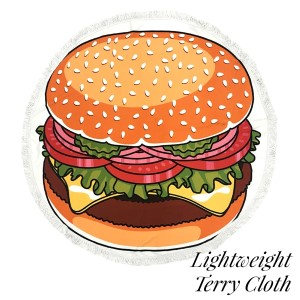 """Lightweight hamburger printed terry cloth roundie beach towel with frayed edges. 100% cotton. Approximately 60"""" in diameter."""