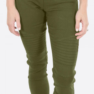"Olive green Moto Jeggings with faux front pockets and real back pockets. 65% polyester, 30% cotton, and 5% spandex. 28"" inseam. Sold in packs of six - three S/M and three L/XL. Approximate fit in U.S. sizes: S/M 4-8 & L/XL 10-14"