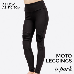 Black, moto leggings with no front or back pockets. 68% cotton, 27% polyester, and 5% spandex. Sold in packs of six - one small, two mediums, two larges, one extra large.