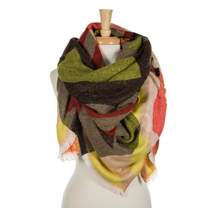 """Red, yellow, taupe, and black printed blanket scarf with frayed edges. 100% acrylic. Measures 56"""" x 56"""" in size."""