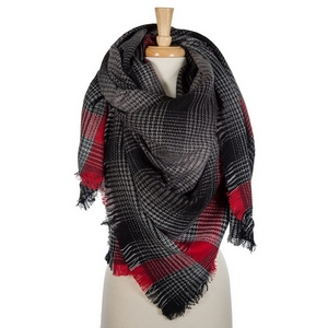 """Black and red plaid blanket scarf with frayed edges. 100% acrylic. Measures 56"""" x 56"""" in size."""