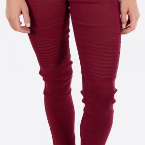 "Wine Moto Jeggings with faux front pockets and real back pockets. 65% polyester, 30% cotton, and 5% spandex. 28"" inseam. Sold in packs of six - three S/M and three L/XL. Approximate fit in U.S. sizes: S/M 4-8 & L/XL 10-14"
