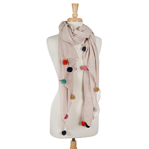 """Lightweight ivory, open scarf with pom poms along the bottom edges. 65% polyester and 35% viscose. Measures 36"""" x 66"""" in size."""