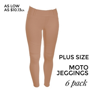 "Blush pink Moto Jeggings with faux front pockets and real back pockets. 65% polyester, 30% cotton, and 5% spandex. 30"" inseam. Sold in packs of six - two 1X, two 2X, and two 3X. Approximate fit in U.S. sizes: 1X 16-18, 2X 20-22, 3X 24-26."