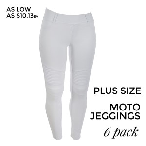 "White Moto Jeggings with faux front pockets and real back pockets. 65% polyester, 30% cotton, and 5% spandex. 30"" inseam. Sold in packs of six - two 1X, two 2X, and two 3X. Approximate fit in U.S. sizes: 1X 16-18, 2X 20-22, 3X 24-26."