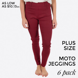 "Red Moto Jeggings with faux front pockets and real back pockets. 65% polyester, 30% cotton, and 5% spandex. 30"" inseam. Sold in packs of six - two 1X, two 2X, and two 3X. Approximate fit in U.S. sizes: 1X 16-18, 2X 20-22, 3X 24-26."