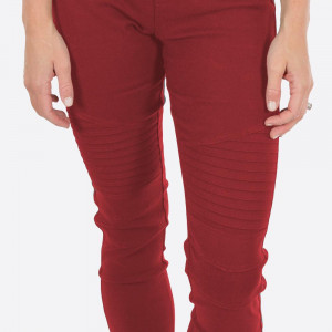 "Red Moto Jeggings with faux front pockets and real back pockets. 65% polyester, 30% cotton, and 5% spandex. 30"" inseam. Sold in packs of six - two 1X, two 2X, and two 3X. Approximate fit in U.S. sizes: 1X 16-18, 2X 20-22, 3X 24-26. These are slim fit jeggings, so we recommend your customers choose a size up."