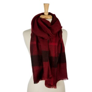 "Burgundy, heavyweight scarf with a large plaid print. 100% acrylic. Measures 26"" x 76"" in size."