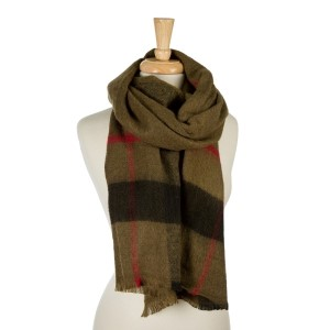 "Olive green, heavyweight scarf with a large plaid print. 100% acrylic. Measures 26"" x 76"" in size."