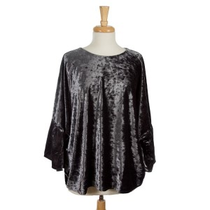 Gray, crushed velvet tunic top with an oversized fit and bell sleeves. 95% polyester and 5% spandex. One size fits most.