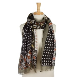 """Olive green, lightweight scarf with a paisley and floral print and frayed edges. 100% viscose. Measures 36"""" x 72"""" in length."""