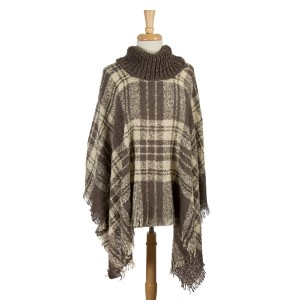 Gray and ivory, plaid turtleneck poncho top. 100% acrylic. One size fits most.