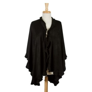 Black knit cape with ruffled edges. 100% acrylic. One size fits most.