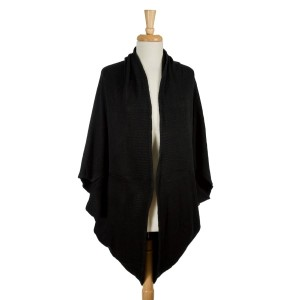 Black, oversized, knit cocoon shawl. 100% acrylic. One size fits most.