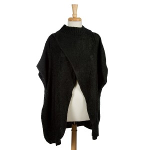Black turtleneck sweater, poncho with an open front. 100% acrylic. One size fits most.