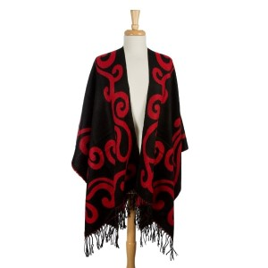 Black and red reversible cape with a swirl pattern and tassels along the bottom hem. 100% acrylic. One size fits most.