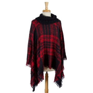 Navy blue and red, plaid turtleneck poncho top. 100% acrylic. One size fits most.