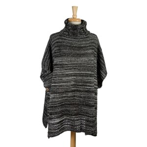 Black and white knit, turtleneck poncho with wooden buttons on the sides. 100% acrylic. One size fits most.