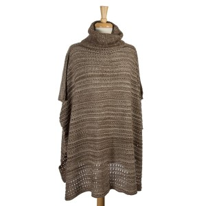 Brown and white knit, turtleneck poncho with wooden buttons on the sides. 100% acrylic. One size fits most.