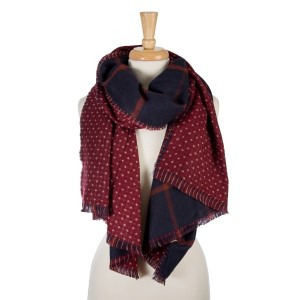 """Maroon and navy blue, heavyweight open scarf with a plaid print on one side and polka dots on the other. 100% acrylic. Measures 27"""" x 80"""" in size."""