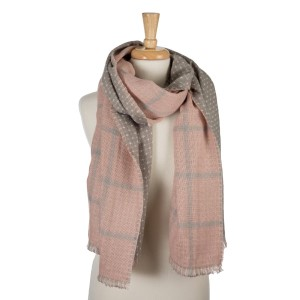 """Gray and mauve, heavyweight open scarf with a plaid print on one side and polka dots on the other. 100% acrylic. Measures 27"""" x 80"""" in size."""